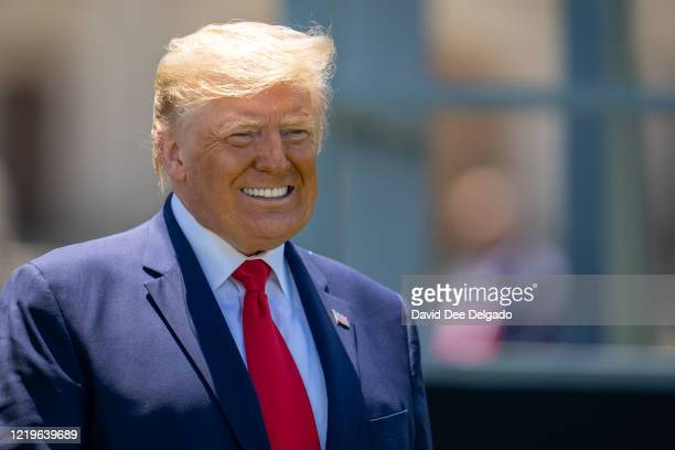 President Donald Trump at the end of the commencement ceremony on June 13, 2020 in West Point, New York. The graduating cadets were sent home in...