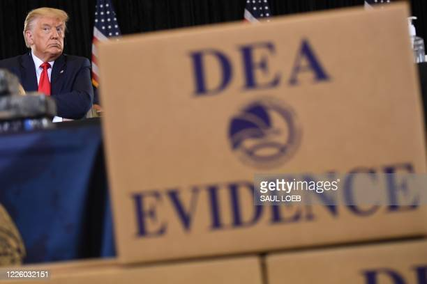 President Donald Trump attends a briefing on Enhanced Narcotics Operations at the US Southern Command in Doral, Florida, on July 10, 2020.
