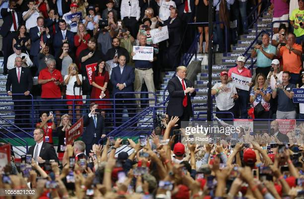 President Donald Trump attends a campaign rally in the Hertz Arena to help Republican candidates running in the upcoming election on October 31 2018...