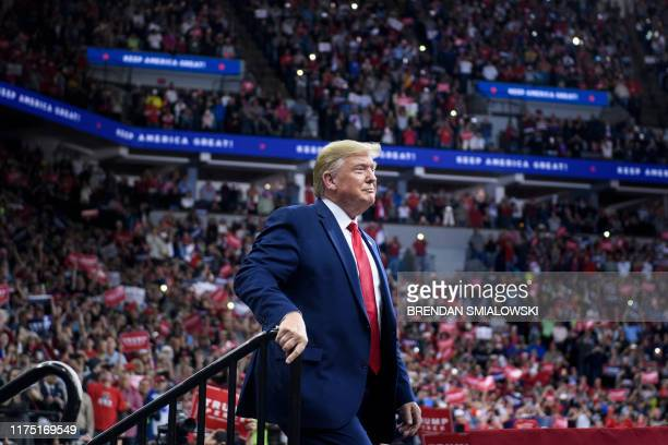 """President Donald Trump attends a """"Keep America Great"""" rally at the Target Center in Minneapolis, Minnesota on October 10, 2019."""