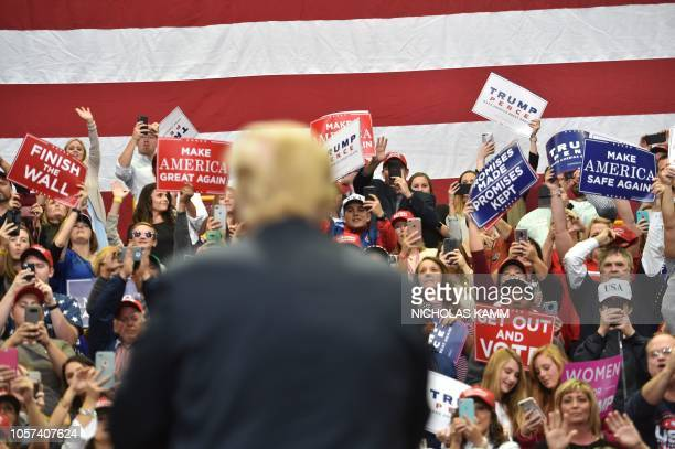 US President Donald Trump attends a Make America Great Again campaign rally at McKenzie Arena in Chattanooga Tennessee on November 4 2018