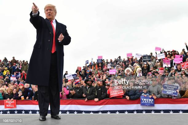 President Donald Trump attends a Make America Great Again rally at Bozeman Yellowstone International Airport November 3 2018 in Belgrade Montana