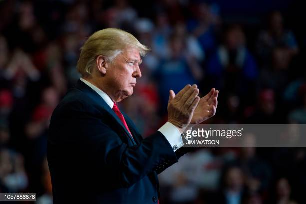 President Donald Trump attends a Make America Great Again rally in Cape Girardeau, Missouri on November 5, 2018.
