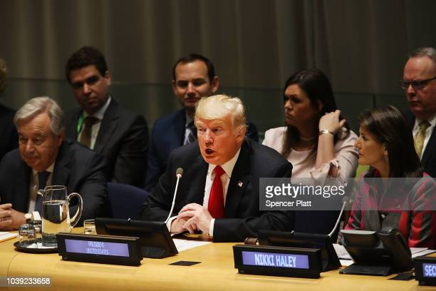 S President Donald Trump attends a meeting on the global drug problem at the United Nations with UN Ambassador Nikki Haley a day ahead of the...