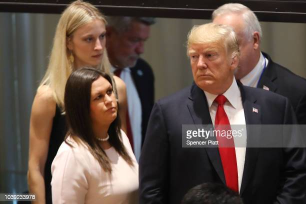 President Donald Trump attends a meeting on the global drug problem at the United Nations with UN Ambassador Nikki Haley a day ahead of the official...