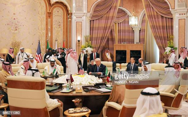 US President Donald Trump attends a meeting with leaders of the Gulf Cooperation Council at the King Abdulaziz Conference Center in Riyadh on May 21...