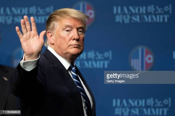 S President Donald Trump attends a news conference following his second summit meeting with North Korean leader Kim Jongun on February 28 2019 in...