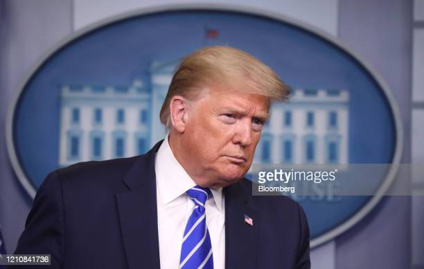 President Donald Trump attends a news conference in the White House in Washington, D.C., U.S., on Thursday, April 23, 2020. Trumps handling of the...
