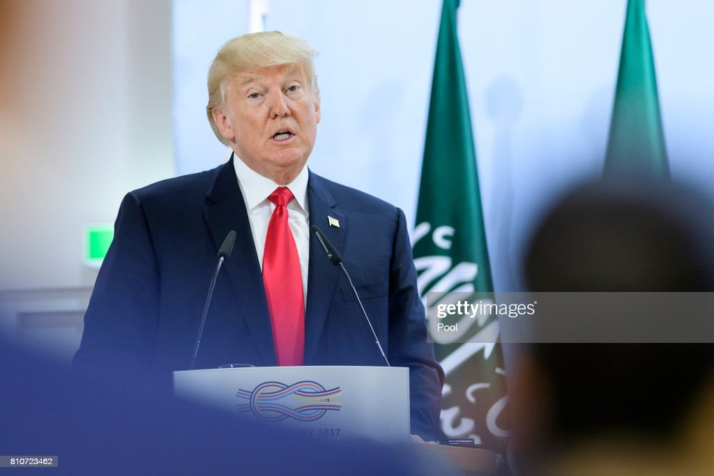 US President, Donald Trump attends a panel discussion titled 'Launch Event Women's Entrepreneur Finance Initiative' on the second day of the G20 summit on July 8, 2017 in Hamburg, Germany. Leaders of the G20 group of nations are meeting for the July 7-8 summit. Topics high on the agenda for the summit include climate policy and development programs for African economies.