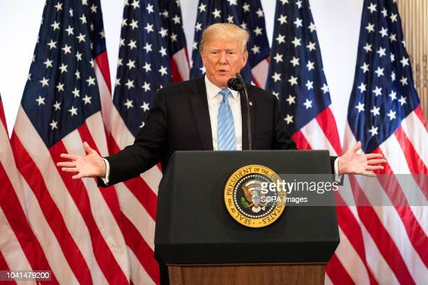 President Donald Trump attends a press conference at the Lotte New York Palace Hotel in New York City Trump is in New York for the United Nations...