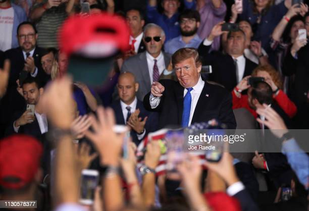 President Donald Trump attends a rally at Florida International University on February 18 2019 in Miami Florida President Trump spoke about the...