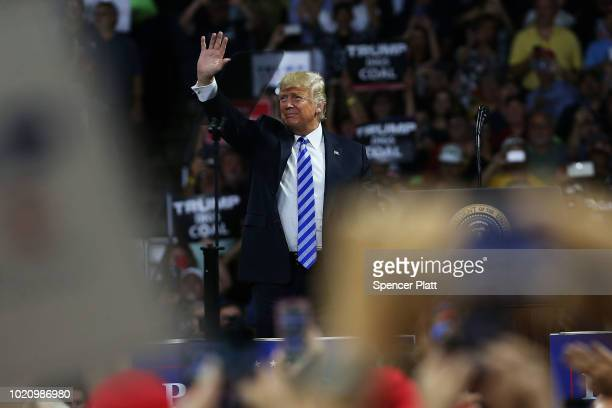 President Donald Trump attends a rally at the Charleston Civic Center on August 21 2018 in Charleston West Virginia Paul Manafort a former campaign...