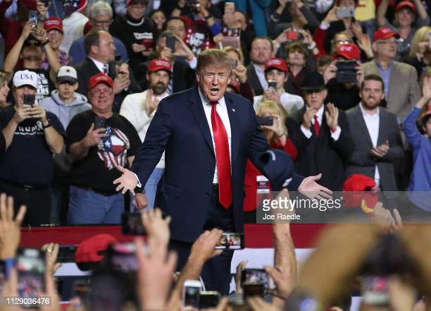 S President Donald Trump attends a rally at the El Paso County Coliseum on February 11 2019 in El Paso Texas Trump continues his campaign for a wall...