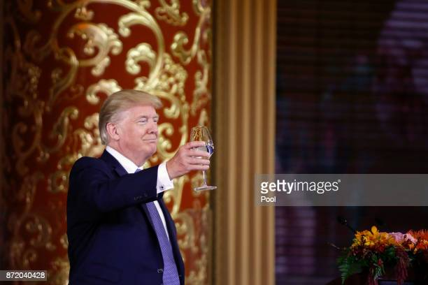 S President Donald Trump attends a state dinner at the Great Hall of the People on November 9 2017 in Beijing China Trump is on a 10day trip to Asia