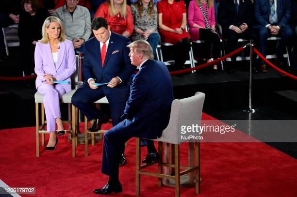President Donald Trump attends a town hall hosted by FOX News Channel and co-moderated by Martha MacCallum and Bret Baier, at the Scranton Cultural...