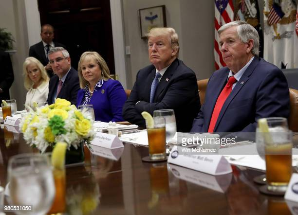 S President Donald Trump speaks during a working lunch with US governors at the White House June 21 2018 in Washington DC Trump spoke primarily about...