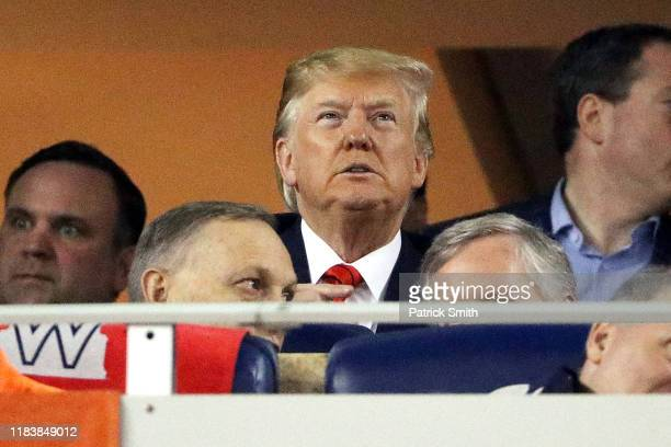 President Donald Trump attends Game Five of the 2019 World Series between the Houston Astros and the Washington Nationals at Nationals Park on...