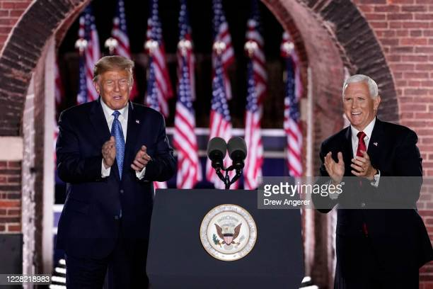 President Donald Trump attends Mike Pences acceptance speech for the vice presidential nomination during the Republican National Convention at Fort...