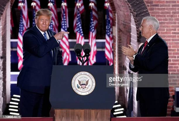President Donald Trump attends Mike Pence's acceptance speech for the vice presidential nomination during the Republican National Convention at Fort...