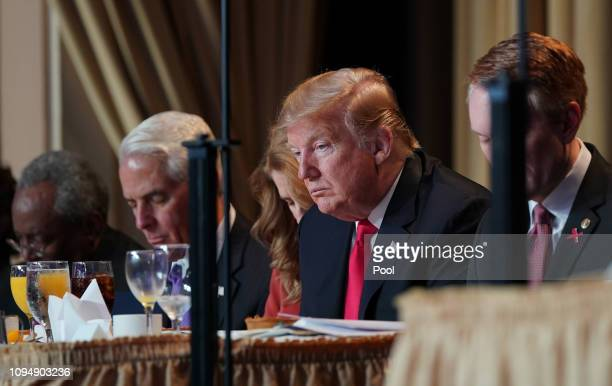 US President Donald Trump attends the 2019 National Prayer Breakfast on February 7 2019 in Washington DC