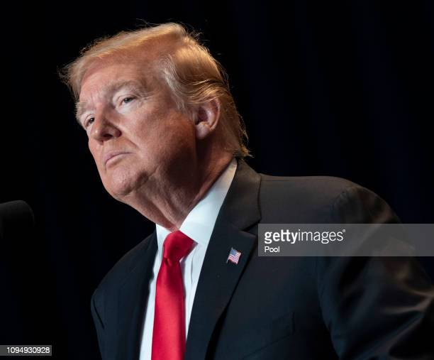 US President Donald Trump attends the 2019 National Prayer Breakfast on February 7 2019 in Washington DC In his speech Trump assured that his...