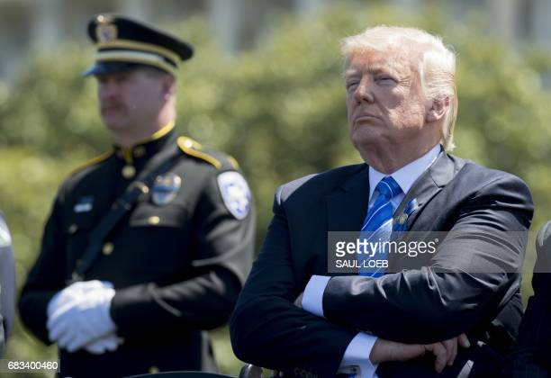 President Donald Trump attends the 36th Annual National Peace Officers Memorial Service at the US Capitol in Washington, DC, May 15, 2017. / AFP...