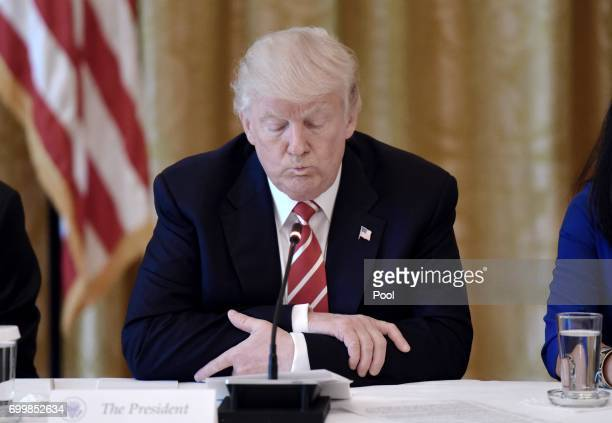 US President Donald Trump attends the American Leadership in Emerging Technology Event in the East Room of the White House June 22 2017 in Washington...