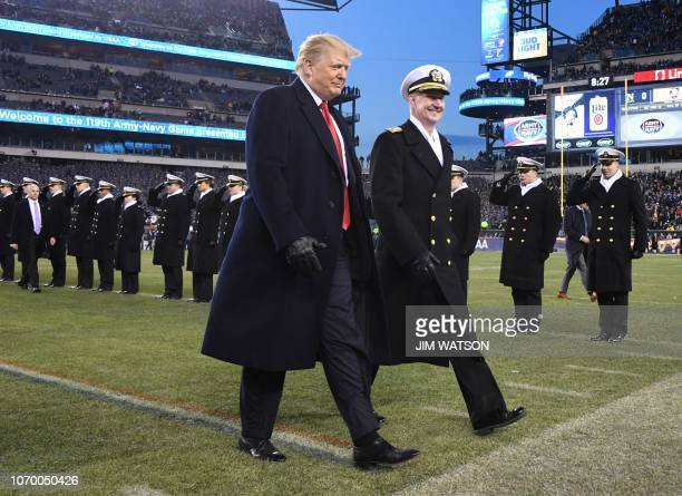 US President Donald Trump attends the annual ArmyNavy football game at Lincoln Financial Field in Philadelphia Pennsylvania December 8 2018 Trump...