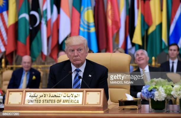 US President Donald Trump attends the Arab Islamic American Summit at the King Abdulaziz Conference Center in Riyadh on May 21 2017 Trump tells...