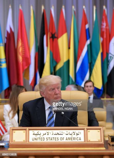 US President Donald Trump attends the Arab Islamic American Summit at the King Abdulaziz Conference Center in Riyadh on May 21 2017 Trump urges...