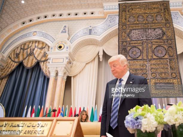 US President Donald Trump attends the Arabic Islamic American Summit at King Abdul Aziz International Conference Center in Riyadh Saudi Arabia on May...
