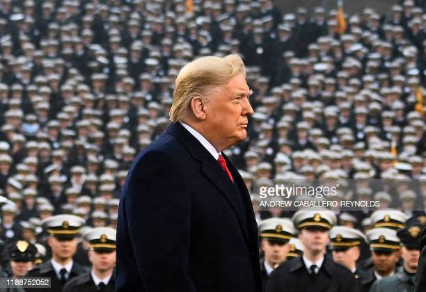 President Donald Trump attends the Army-Navy football game in Philadelphia, Pennsylvania on December 14, 2019.