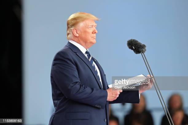 President Donald Trump attends the Dday 75 Commemorations on June 05 2019 in Portsmouth England The political heads of 16 countries involved in World...