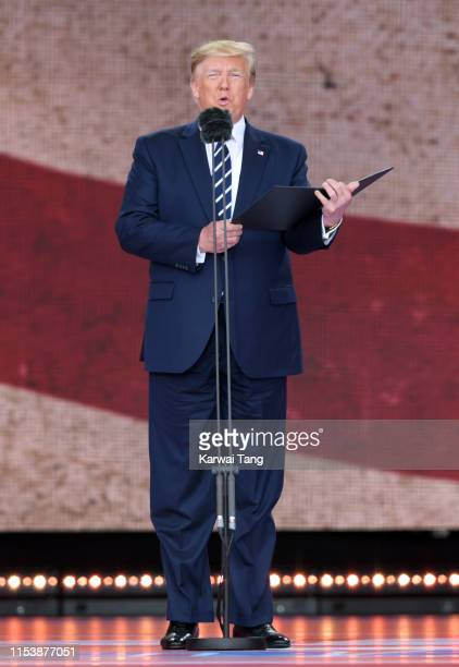 President Donald Trump attends the D-Day75 National Commemorative Event to mark the 75th Anniversary of the D-Day Landings at Southsea Common on June...