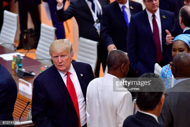 S President Donald Trump attends the morning working session on the second day of the G20 economic summit on July 8 2017 in Hamburg Germany G20...