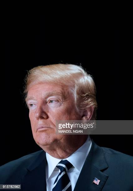 US President Donald Trump attends the National Prayer Breakfast at a hotel in Washington DC on February 8 2018