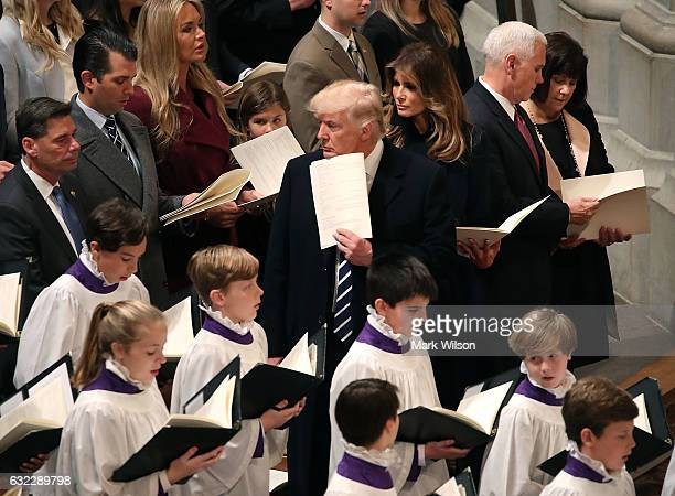 S President Donald Trump attends the National Prayer Services with his wife first lady Melania Trump Vice President Mike Pence and his wife Karen...