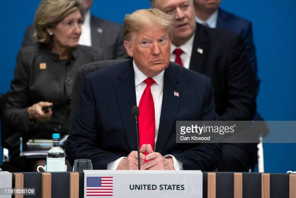 President Donald Trump attends the NATO summit at the Grove Hotel on December 4, 2019 in Watford, England. France and the UK signed the Treaty of...