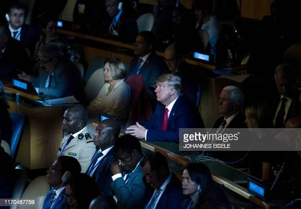 President Donald Trump attends the UN Climate Action Summit on September 23 2019 at the United Nations Headquaters in New York City
