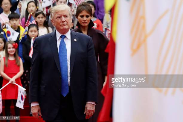 US President Donald Trump attends the welcoming ceremony at the presidential Blue House on November 7 2017 in Seoul South Korea Trump is in South...