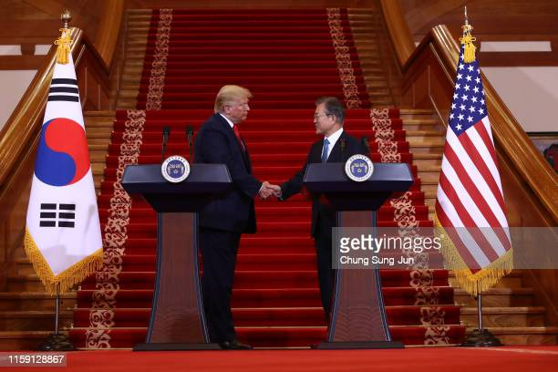 S President Donald Trump attends with South Korean President Moon Jaein during the joint press conference at the presidential Blue House on June 30...