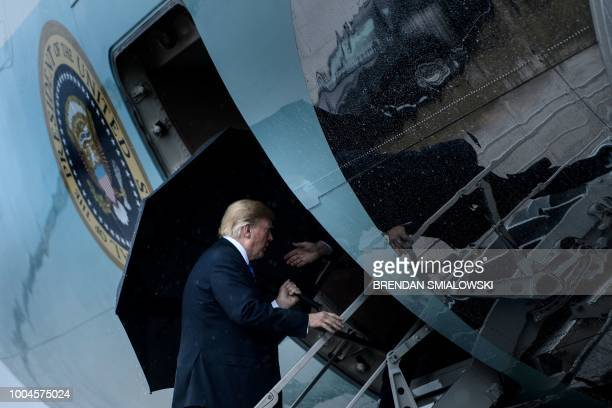 President Donald Trump boards Air Force One at Andrews Air Force Base July 24 in Maryland Trump is traveling to Kansas City Missouri