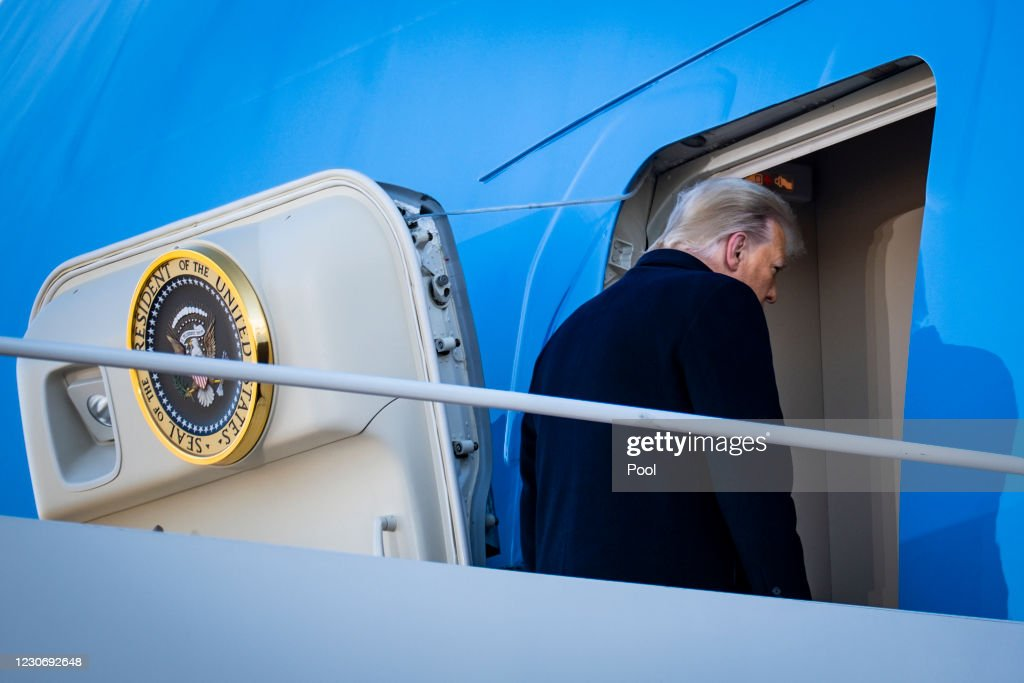 President Trump Departs For Florida At The End Of His Presidency : News Photo