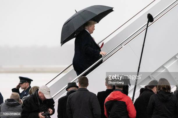 US President Donald Trump boards Air Force One at Joint Base Andrews Maryland US on Saturday Oct 27 2018 Trumpcondemned all forms of evil including...