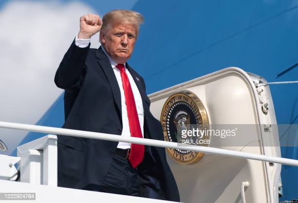 President Donald Trump boards Air Force One prior to departure from Austin Straubel International Airport in Green Bay, Wisconsin, June 25, 2020.