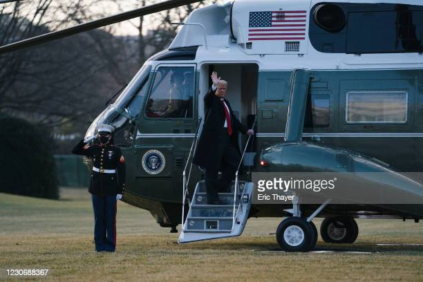 President Donald Trump boards Marine One as he departs the White House on January 20, 2021 in Washington, DC. Trump is making his scheduled departure...
