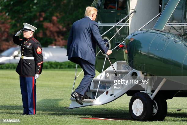 S President Donald Trump boards Marine One on the South Lawn of the White House before his departure to Walter Reed Medical Center on May 14 2018 in...