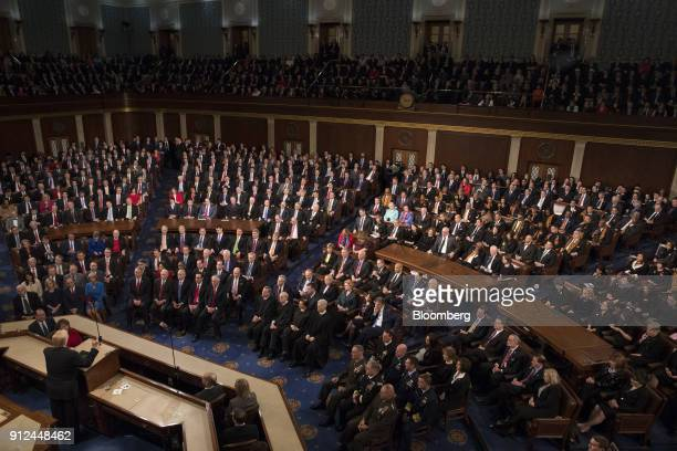 US President Donald Trump bottom left delivers a State of the Union address to a joint session of Congress at the US Capitol in Washington DC US on...