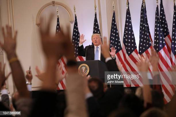 S President Donald Trump calls on reporters at a press conference on September 26 2018 in New York City The President held the news event after...