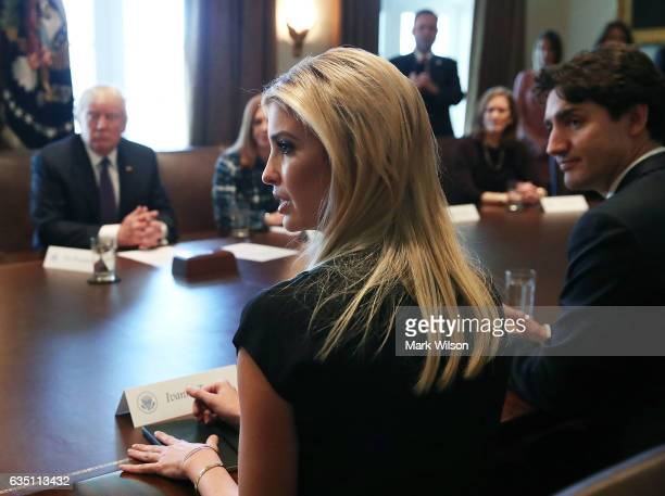 S President Donald Trump Canadian Prime Minister Justin Trudeau listen to Ivanka Trump speak during a roundtable discussion on the advancement of...